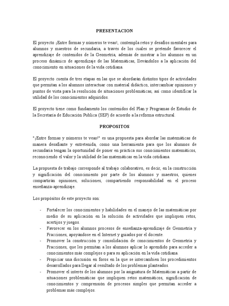 proyecto colaborativo de matematicas de secundaria