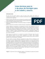 Especificaciones Técnicas Para La Construcción de Pisos de Hormigón Para Instalaciones de Ordeño y Anexos
