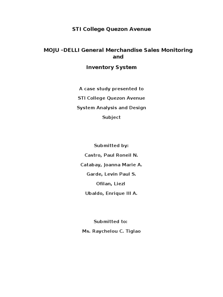 sales and inventory system thesis documentation