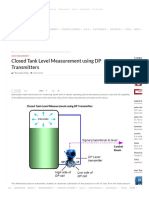 Closed Tank Level Measurement Using DP Transmitters Instrumentation Tools