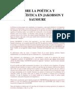 Sobre La Poética y Lalingüística en Jakobson y Saussure