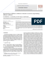Determination of Diffusion Coefficient of Chloride in Concrete Using Warburg Diffusion Coefficient