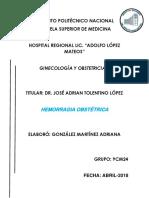HEMORRAGIA OBSTETRICA. Trabajo monografico