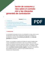 Apuntes Sobre El Contrato Por Adhesión y Las Cláusulas Generales de Contratación