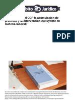 ¿Cómo Regula El CGP La Acumulación de Procesos y La Intervención Excluyente en Materia Laboral