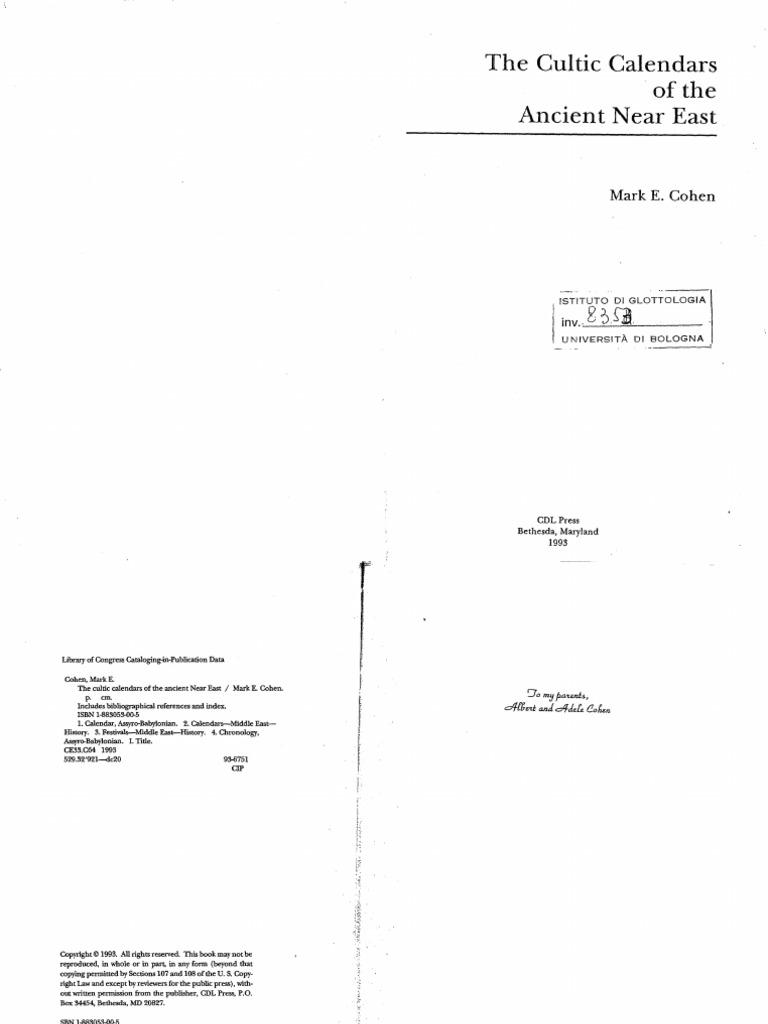 Cohen1983_CulticCalendars pdf   Mesopotamia   Ur