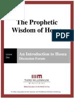 The Prophetic Wisdom of Hosea – Lesson 1 – Forum Manuscript