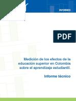 Informe Tecnico - Medicion Efectos Educacion Superior en Colombia Sobre Aprendizaje Estudiantil