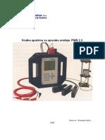 Kratka Uputstva Za Korištenje Uređaja PWS 2.3