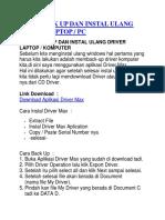Cara Back Up Dan Instal Ulang Driver Laptop