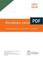 Novedades editoriales 2017-2018. Facultad de Derechos, Ciencias Políticas y Sociales