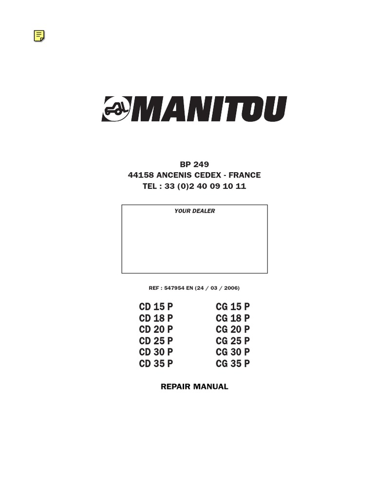 Manual de Reparacion CD25P | Truck | Forklift