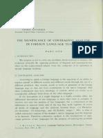 Kanarakis the Significance of Contrastive Analysis