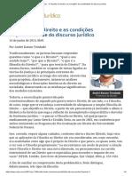 ConJur - A Filosofia No Direito e as Condições de Possibilidade Do Discurso Jurídico