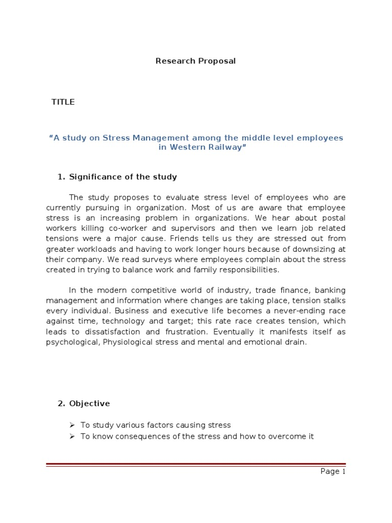research paper on stress management
