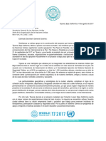 Carta a Las Naciones Unidas - The Peace is Possible
