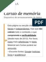 Cartão de Memória – Wikipédia, A Enciclopédia Livre