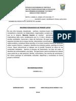Informe Pedagogico Materan 4to