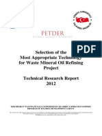 Selection of the Most Appropriate Technology for Waste Mineral Oil Refining Project
