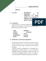 Memoria Descriptica C.P. Ninabamba 2009