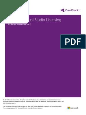 Microsoft Visual Studio Licensing: Published November 2017