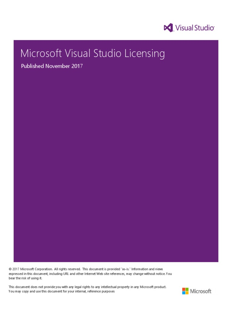 Visual Studio 2018 Licensing Whitepaper November 2017   Microsoft