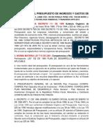 Estructura Del Presupuesto de Ingresos y Gastos de Colombia Edison a 22
