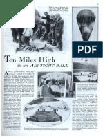 1931 Popular Mechanix Article of Dr. Auguste Piccard Ten Miles High in an Airtight Balloon