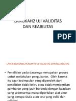 Langkah Uji Validitas Dan Reabilitas
