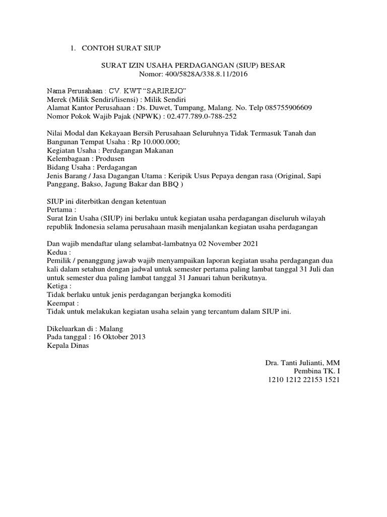Surat Izin Usaha Perdagangan