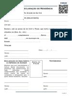 Formulário Declaração de Residência NOVA
