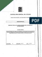 Informe de Contraloria a La Empresa Pública de Hidrocarburos Del Ecuador, Ep