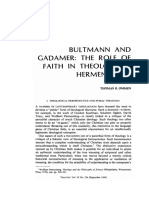 Bultmann and Gadamer the Role of Faith in Theological