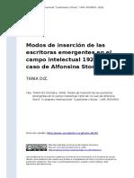 TANIA DIZ (2009). Modos de Insercion de Las Escritoras Emergentes en El Campo Intelectual 1920-30 El Caso de Alfonsina Storni