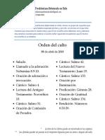 2018-04-08 - Orden Del Culto LO PRADO