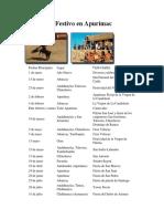 Calendario Festivo en Apurimac