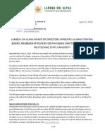 Lambda Chi Alpha National Fraternity Board Press Release