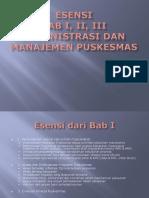 Esensi Bab 1, 2, 3 Administrasi Dan Manajemen Puskesmas
