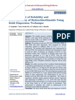 Enhancement of Solubility and Bioavailability of Hydrochlorthiazide Using Solid Dispersion Technique