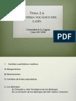 2.4. El sistema vocálico del latín