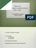 El sistema consonántico del latín