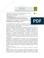 Organização Do Trabalho e Problemas de Saúde Mental Em Estudantes de Doutorado Abstrato