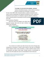A Economia Colonial Os Ciclos Do Pau-Brasil,  Açúcar (Concurso ESSA)
