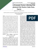 Analysis of Socio-Economic Factors Affecting Fish Marketing in Igbokoda Fish Market, Ondo State, Nigeria
