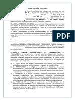 Modelo Contrato de Trabajo Indefinido Bolivia