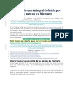 Cálculo de Una Integral Definida Por Las Sumas de Riemann