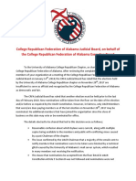 College Republican Federation of Alabama Judicial Board Letter to University of Alabama College Republicans pertaining to Students for America First