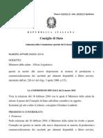 Consiglio di Stato Parere n. 859/2018
