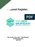 Proposal Donasi Rumah Qur'an Mufidah Prambanan 2018