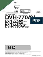 Pioneer Dvh-770av Dvh-775av Dvh-7780av Crt5539 Car Dvd Receiver
